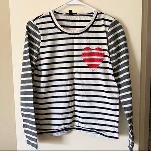 S jcrew striped heart top